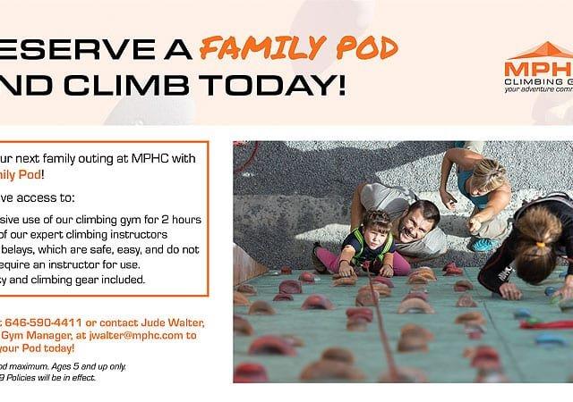 Climbing Gym Family Pods at Manhattan Plaza Health Club New York City