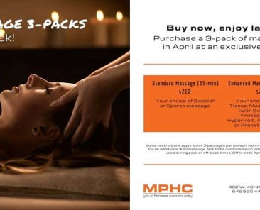 Massage 3 packs at Manhattan Plaza Health Club New York