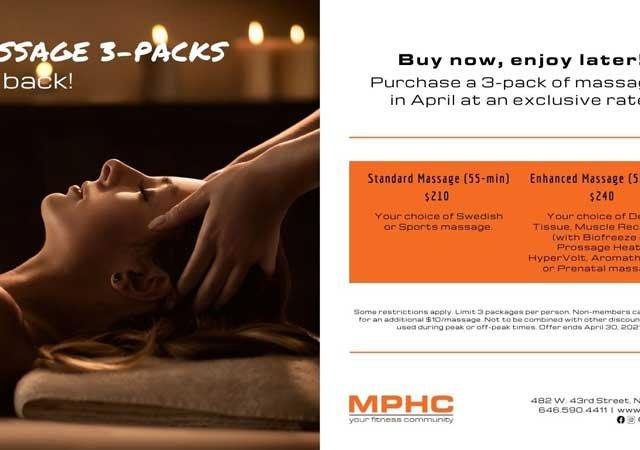 Massage 3 packs at Manhattan Plaza Health Club New York