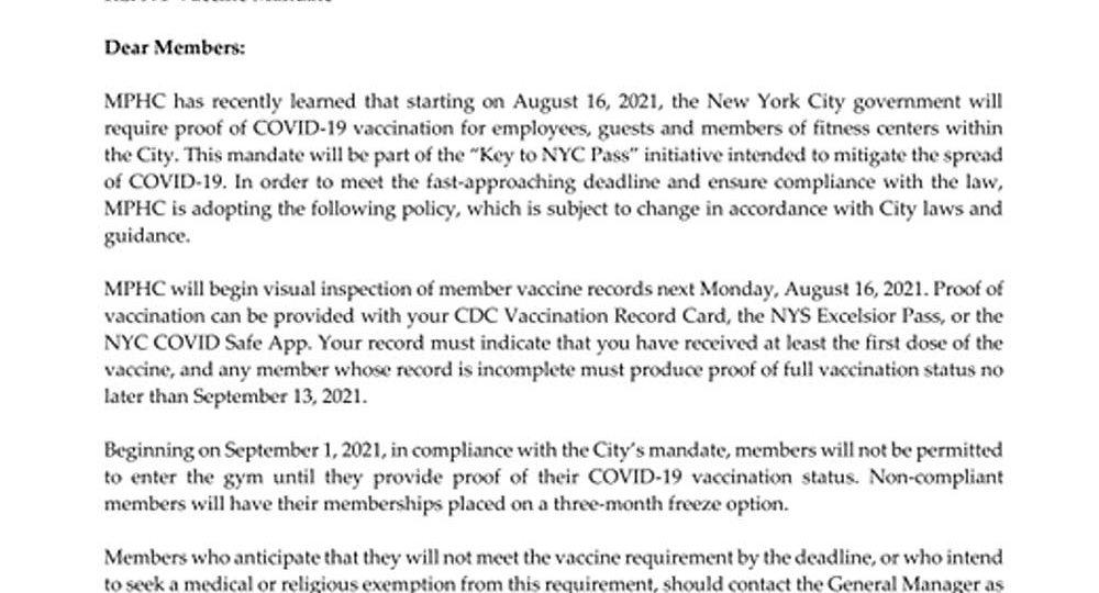 New York City Vaccine Mandate at MPHC